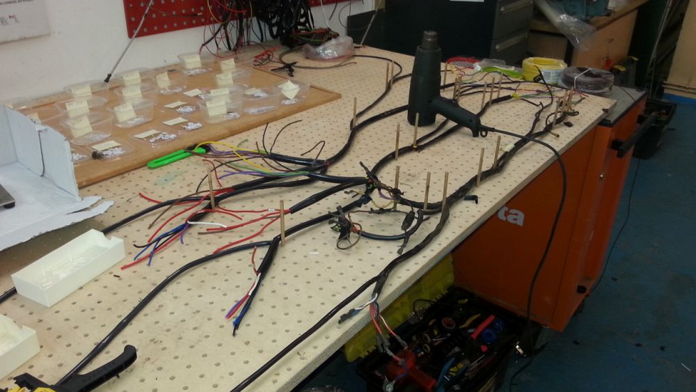 Wiring harness on a production table.